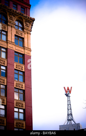 Gastown, Vancouver, British Columbia, Canada; Large 'W' sign in historic city district - Stock Photo