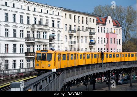 Elevated section of Berlin S-Bahn railway in Kreuzberg Berlin - Stock Photo