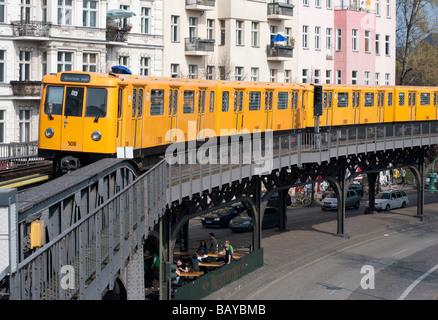 Elevated section of Berlin S Bahn railway in Kreuzberg Berlin - Stock Photo