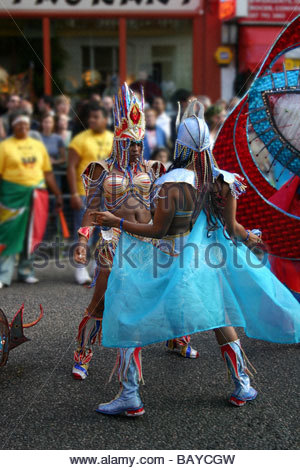 Dancers at the Notting Hill Carnival London UK - Stock Photo