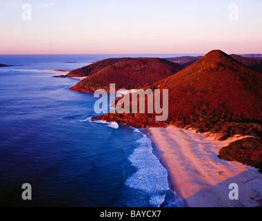 Zenith Beach at sunrise Tomaree National Park Shoal Bay New South Wales Australia - Stock Photo