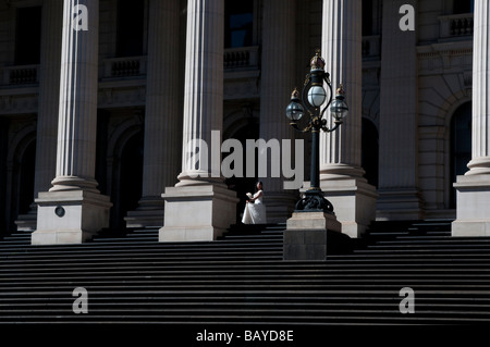 Bride at Parliament House Melbourne Victoria Australia - Stock Photo