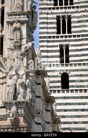 Detail of the Duomo Santa Maria Assunta and the Bell Tower, Siena, Tuscany, Italy - Stock Photo