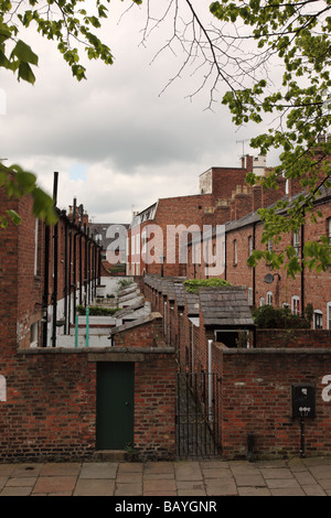 Rows of old houses in Chester, Cheshire, England - Stock Photo