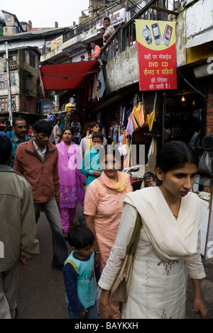 Busy shopping street and shoppers in Shimla. Himachal Pradesh. India. - Stock Photo