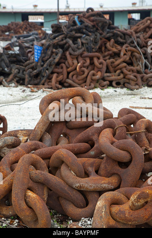 New Orleans Louisiana Anchor chains near the Industrial Canal - Stock Photo