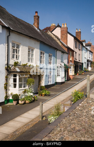 Row of colourful old terraced cottages in a residential street in Ludlow Shropshire West Midlands England UK Britain - Stock Photo