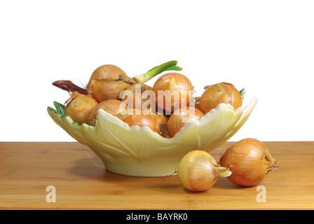 Zwiebel in Schale onion in bowl 03 - Stock Photo