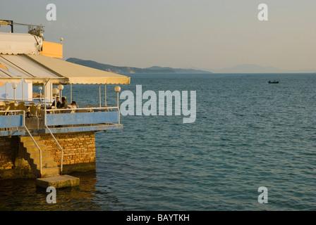 Seaside restaurant terrace in Saranda Albania Europe - Stock Photo