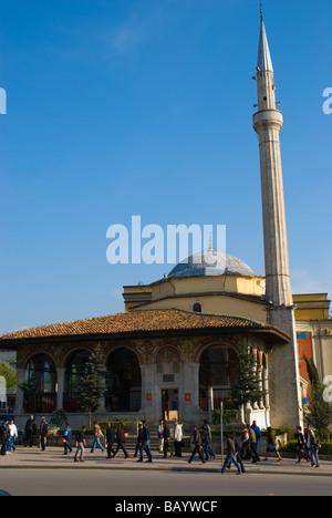 Ethem Bey Mosque exterior at Sheshi Skenderbej square in Tirana Albania Europe - Stock Photo