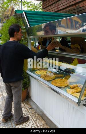 Kiosk selling pies and bureks in Blloku district of Tirana Albania Europe - Stock Photo