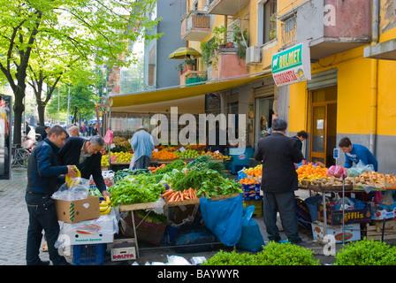 Market stalls in Blloku district of Tirana Albania Europe - Stock Photo