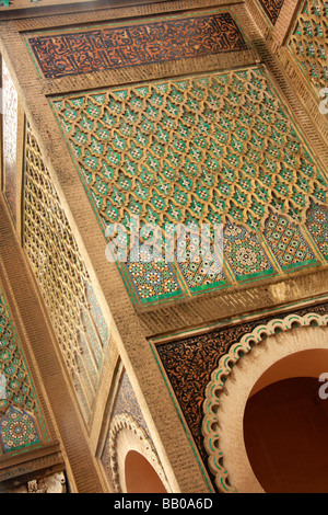 Detail of the darj w ktarf (cheek and shoulder) design on the Bab el Mansour gateway in Meknes, Morocco, North Africa - Stock Photo