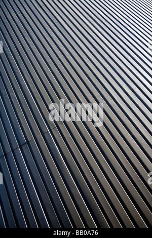 Surface of wall made of corrugated galvanized iron sheets ( CGI ) - Stock Photo