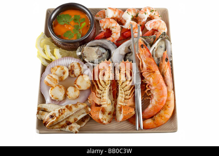 Seafood feast on a plate with hot and cold seafood and sauce oysters prawns shrimp fish scallops and utensils - Stock Photo