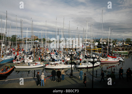 Sailboats in the Inner Harbour for the Swiftsure sailing race in Victoria, BC, Canada. - Stock Photo