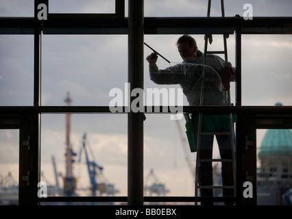 Window cleaner Hamburg - Stock Photo