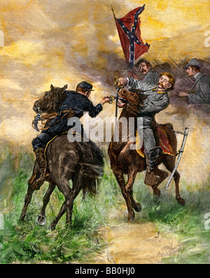 Cavalry duel during a Civil War battle. Hand-colored woodcut - Stock Photo