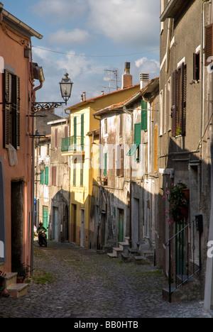 Narrow streets of houses at Valentano in Lazio - Stock Photo