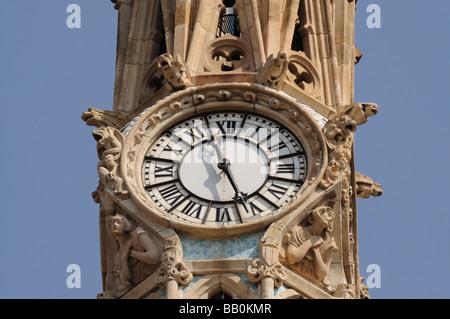 Clock at the Hospital de la Santa Creu i Sant Pau in Barcelona, Spain - Stock Photo