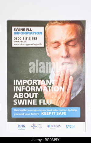 The official swine flu leaflet distributed throughout the uk by the royal mail postal service in May 2009 (information) - Stock Photo
