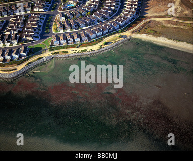 aerial view above residential housing Richmond California edge of San Francisco Bay - Stock Photo