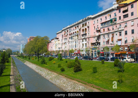 Houses along Lana river in central Tirana Albania Europe - Stock Photo