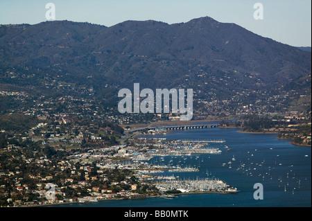 aerial view above Richardson Bay and Sausalito Marin county California Mount Tamalpais - Stock Photo
