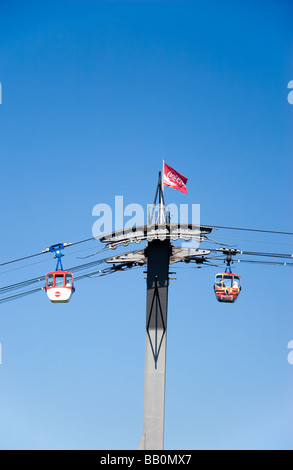 Cable car by Zoobrucke (Zoo Bridge), Cologne, Germany - Stock Photo
