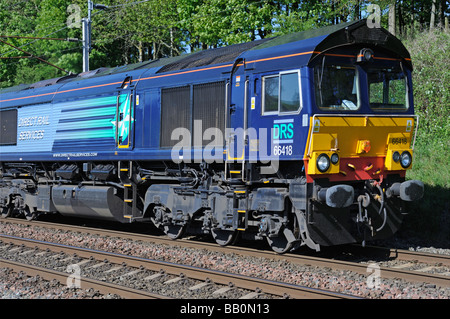 Direct Rail Services Class 66/4 diesel electric freight locomotive, Number 66418. West Coast main line, Lambrigg, - Stock Photo