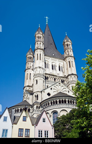 Church of Great St. Martin and the Altstadt (old town), Cologne, Germany - Stock Photo