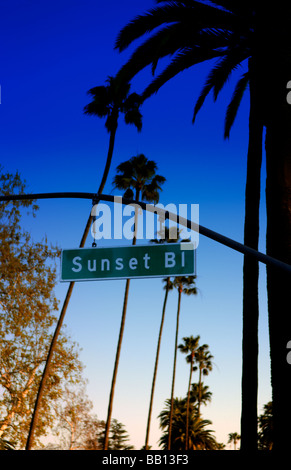 Famous Sunset Blvd sign in Beverly Hills Los Angeles California - Stock Photo