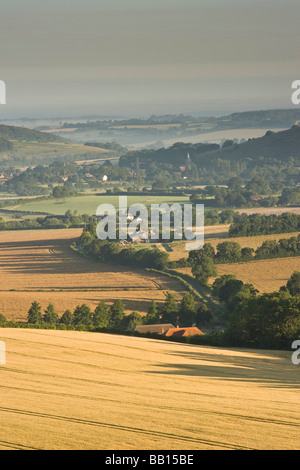 The Meon Valley at sunrise in summer - Stock Photo