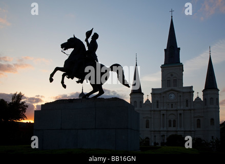New Orleans Louisiana A statue of General Andrew Jackson in Jackson Square in front of St Louis Cathedral - Stock Photo