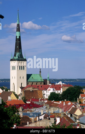 estonia, tallinn, old town, st olaf church - Stock Photo