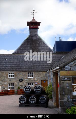 Stacked whisky barrels outside Strathisla Scottish Distillery with Cupola Ventilator, Keith, Dufftown Grampian region, - Stock Photo