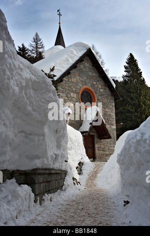 Little mountain Church full with snow, Madonna di Campiglio, Dolomites, Italy, Dolomiti Italian Alps Alpi - Stock Photo