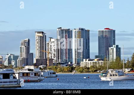 City on a bay with boats and marinas - Stock Photo