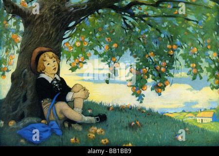 Boy Under an Apple Tree - Stock Photo