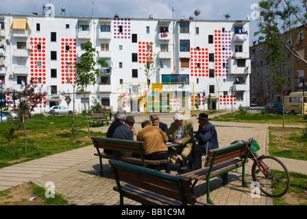 Courtyard and colourful housing in Tirana Albania Europe - Stock Photo