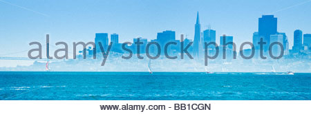 The San Francisco skyline, from across the bay in Sausalito. - Stock Photo