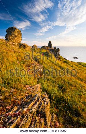 Rocks on the coast near Soar Mill Cove, South Hams, South Devon, England. - Stock Photo