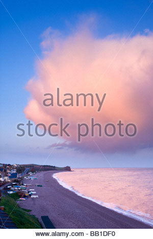 Dramatic cloud formation over the beach at Budleigh Salterton, East Devon. - Stock Photo