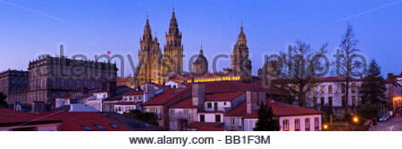 Panoramic view of the Cathedral of Santiago de Compostela, at night. Galicia, North West Spain. - Stock Photo