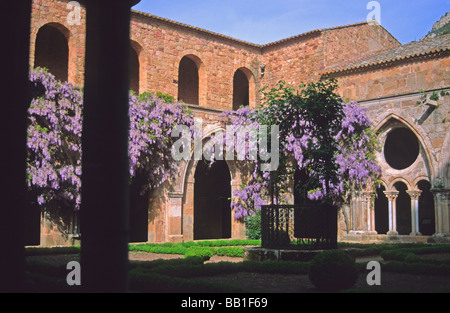 Cloister of the Abbey of Fontfroide Languedoc France - Stock Photo
