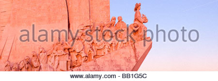Western profile of the Monument to the Discoveries (Padrão dos Descobrimentos), Belém, Lisbon, Portugal. - Stock Photo