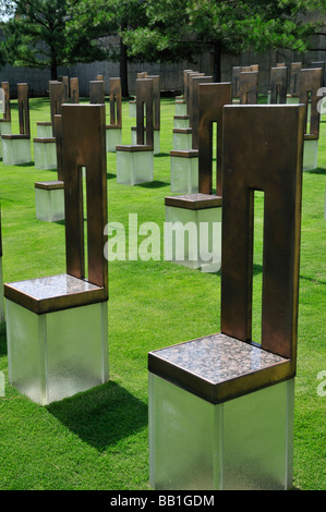 Field of Empty Chairs at the Oklahoma City National Memorial Each chair represents a life taken in the bombing - Stock Photo