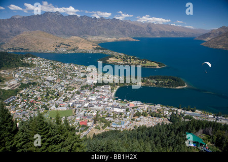 Aerial view of Queenstown South Island New Zealand - Stock Photo