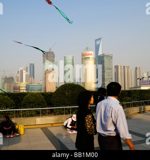 Pudong Business district Shanghai China skyline across the Huangpu River - Stock Photo