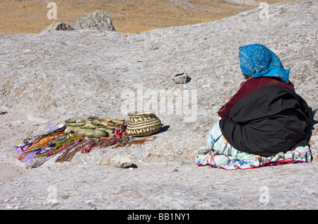 Native Tarahumara woman selling baskets in the Valley of the Mushrooms outside the town of Creel, Mexico - Stock Photo